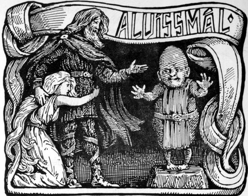 """Карлик Альвис отвечает на вопросы Тора. Иллюстрация У.Г. Колллингвуда к английскому изданию """"Старшей Эдды"""" 1908 г."""