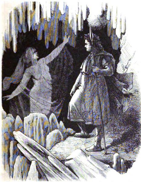 """Ф.У. Гейне, """"Один и вёльва"""". Иллюстрация к сборнику В. Вагнера и Я. Нофера """"Боги и герои северных германцев"""" (1882; 1887)"""