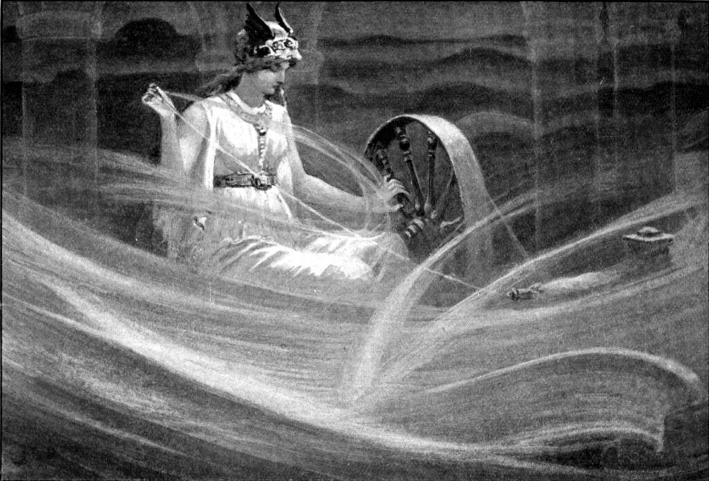 "Джон Чарльз Доллман, ""Фригга, прядущая облака"", 1909"