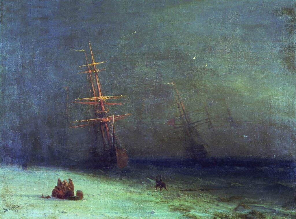 """И.К. Айвазовский, """"Буря на Северном море"""". Холст, масло, 1875"""