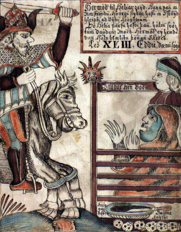 Поездка Хермода в Хель. Иллюстрация работы Оулавюра Бриньюльвссона из исландской рукописи NKS 1867 4to, (96r, 1760 г.)