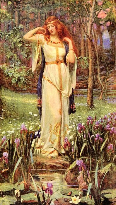 "Джеймс Дойл Пенроуз, ""Богиня Фрейя примеряет ожерелье Брисингамен"", 1890"