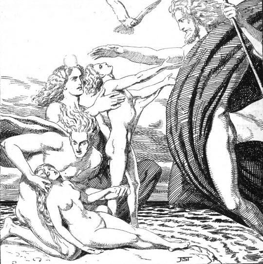 """Франц Стассен, """"Один и его братья создают Аска и Эмблу"""", 1920"""